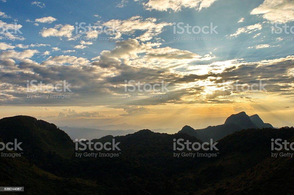 Mountain range with sunlight royalty-free stock photo