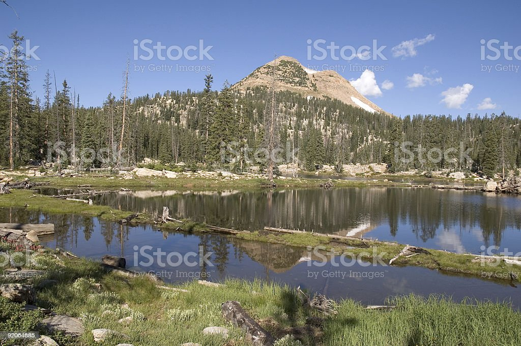Mountain Reflecting on a Lake in the High Uinta Mountains royalty-free stock photo