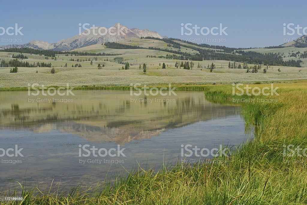 Mountain Reflection at Yellowstone royalty-free stock photo
