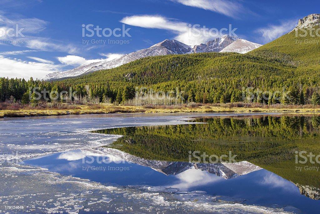 Mountain Reflection in Partially Frozen Lake stock photo