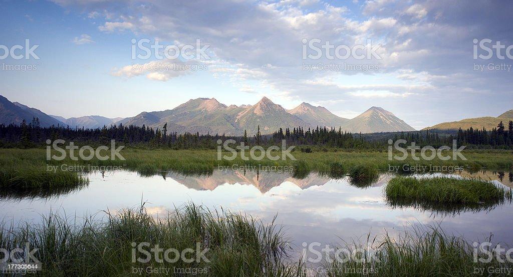 Mountain Reflection Lake Alaska Wilderness USA Outdoors North America stock photo