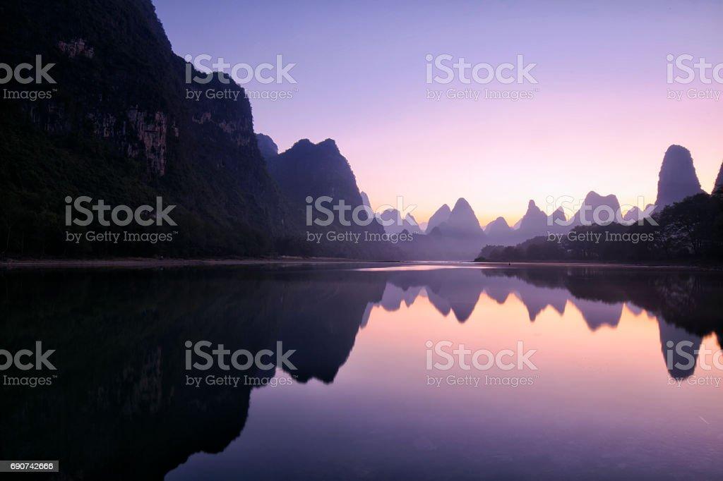 Mountain reflections at dawn, Guilin, China stock photo