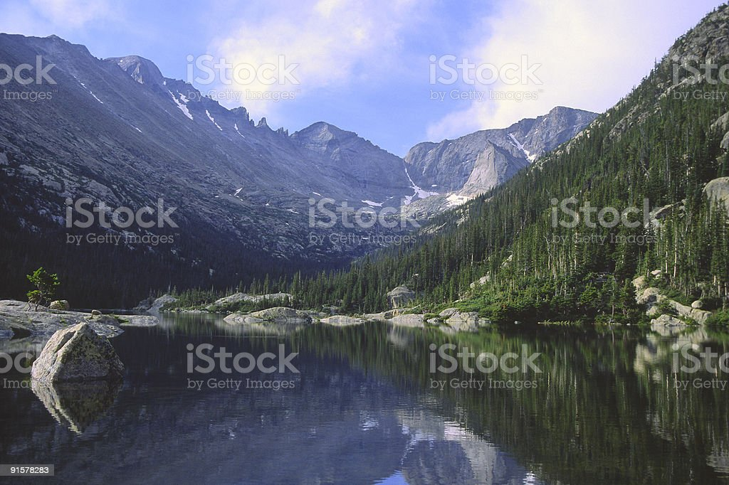 Mountain reflections in Colorado Rockies stock photo