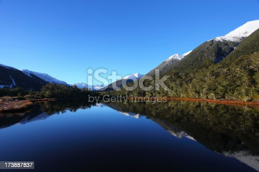 Beautiful reflections of mountains and forest in a small lake. Plenty of copy space. 21 megapixels.For other New Zealand images please check out my lightbox: