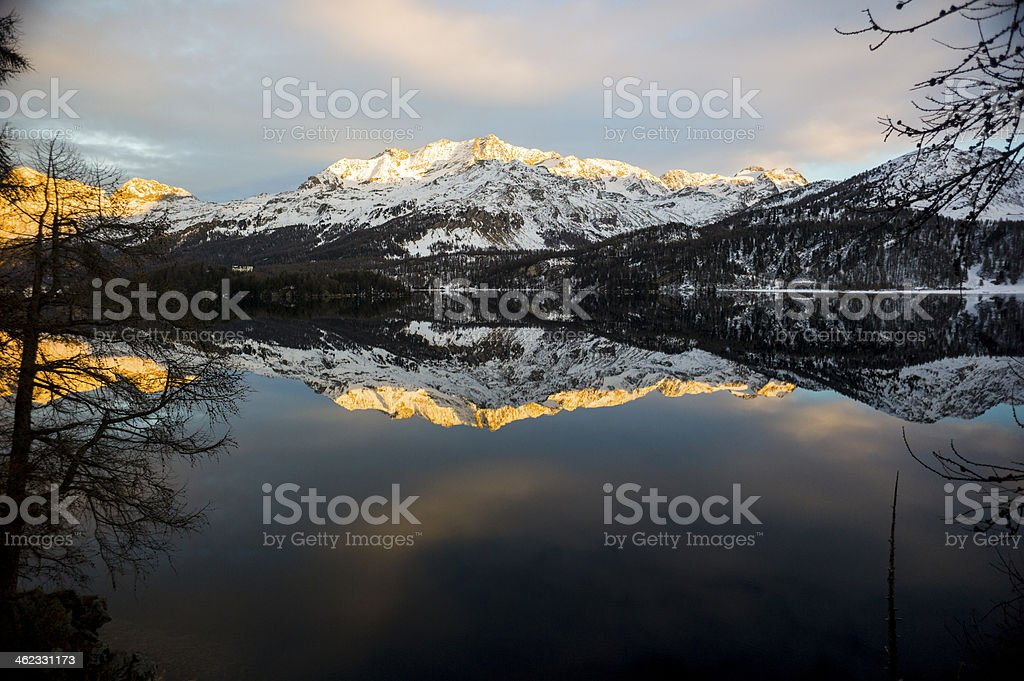 Mountain reflections on lake stock photo
