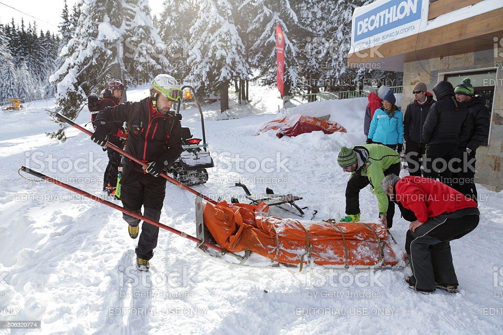 Mountain rescue service stock photo