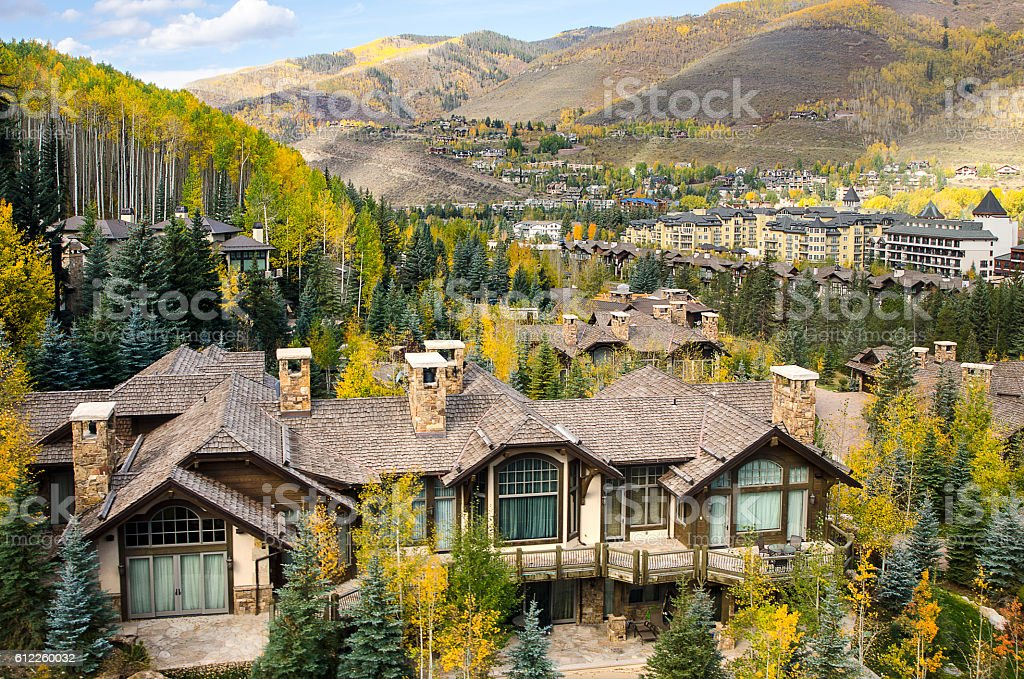 Mountain Resort Village of Vail, Colorado in the Rocky Mountains stock photo