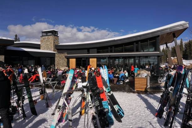 Mountain restaurant on Snowmass slopes stock photo