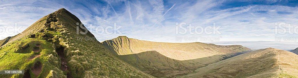 Mountain Ridge Against Glacier Valley stock photo