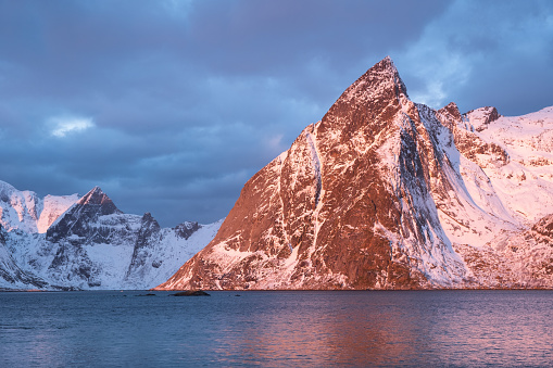 Mountain Ridge And Reflection In The Lake Natural Landscape In The Norway Stock Photo - Download Image Now