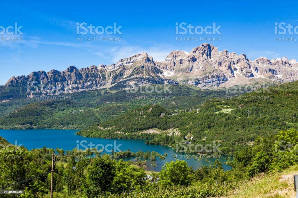 Mountain ridge at the Spanish Pyrenees stock photo