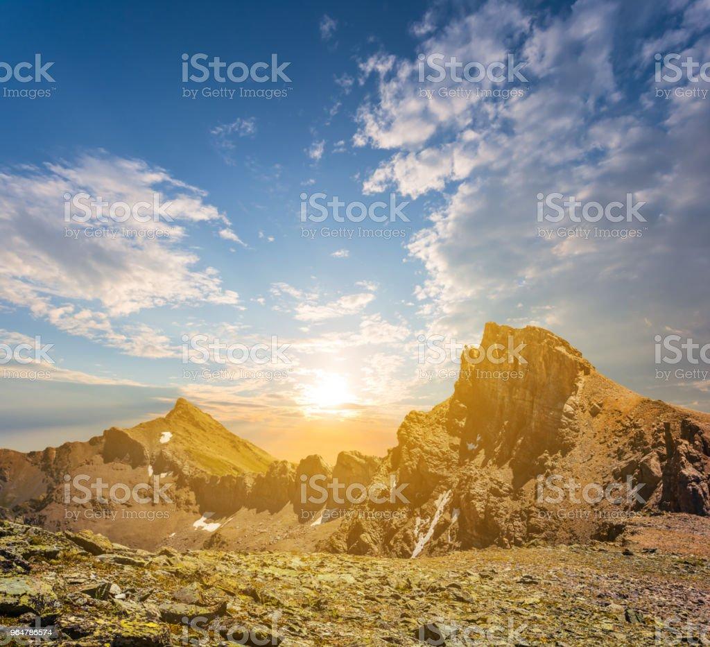 mountain ridge at the sunset royalty-free stock photo