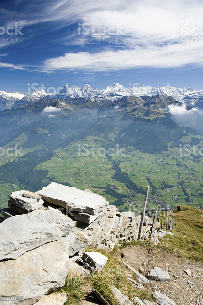Mountain ridge Eiger, Mönch and Jungfrau royalty-free stock photo