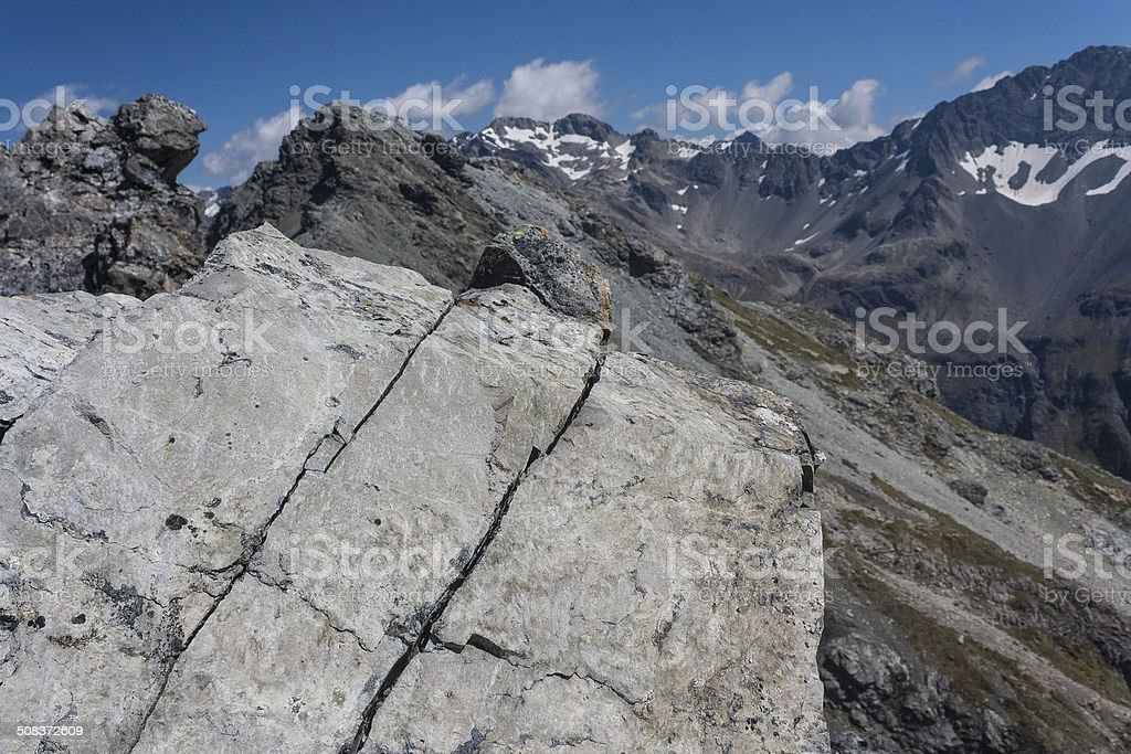 mountain ridge in Southern Alps, New Zealand royalty-free stock photo
