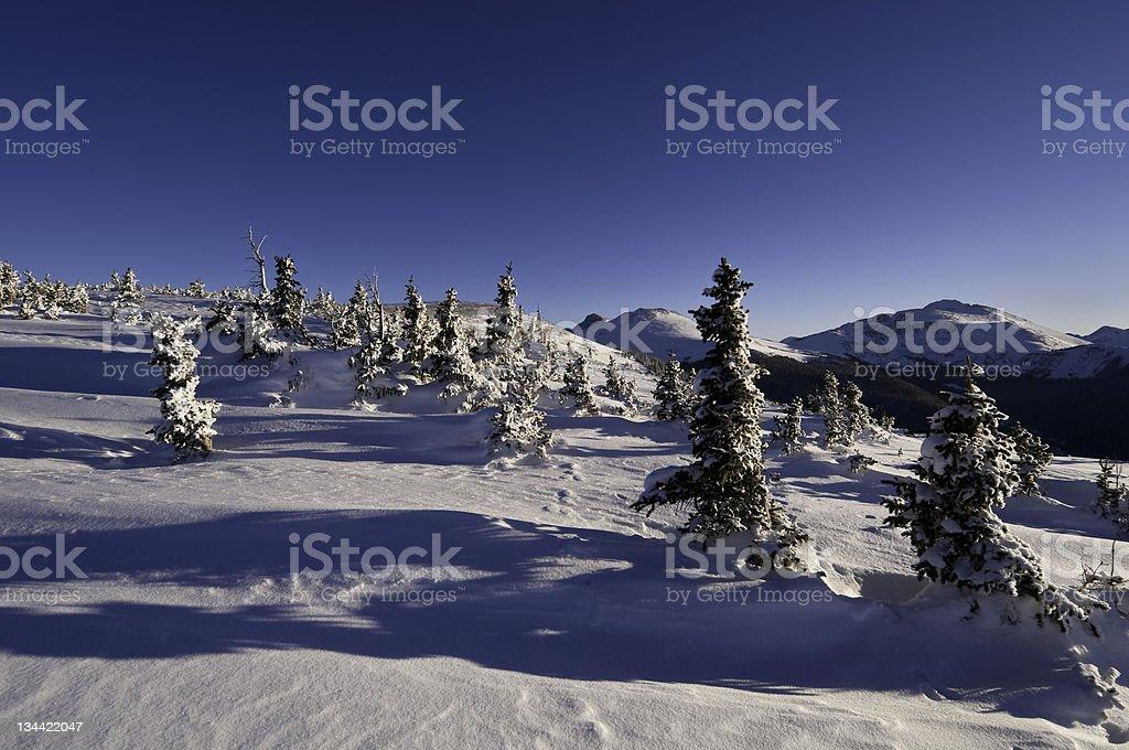 Mountain Ridge WInter Scenic in Colorado stock photo