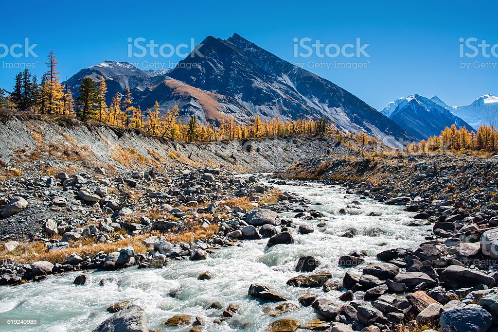 Mountain river Akkem in the Altai in autumn stock photo