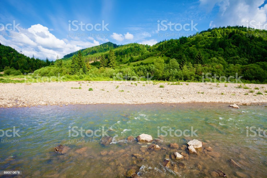 mountain river and green hills, side view stock photo