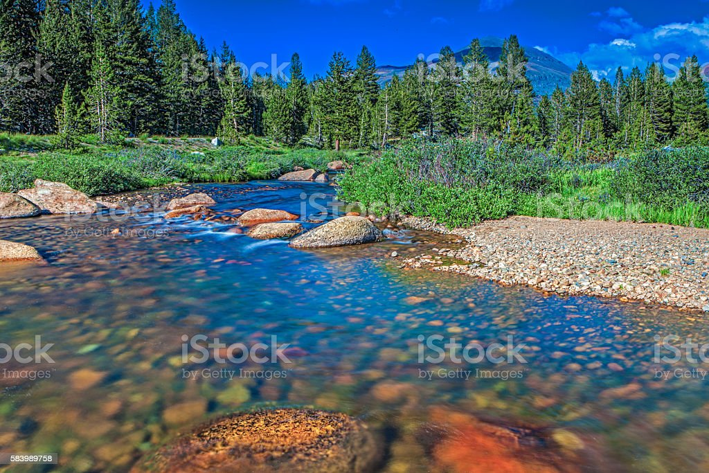 Mountain River and Stones in Yosemite National Park stock photo