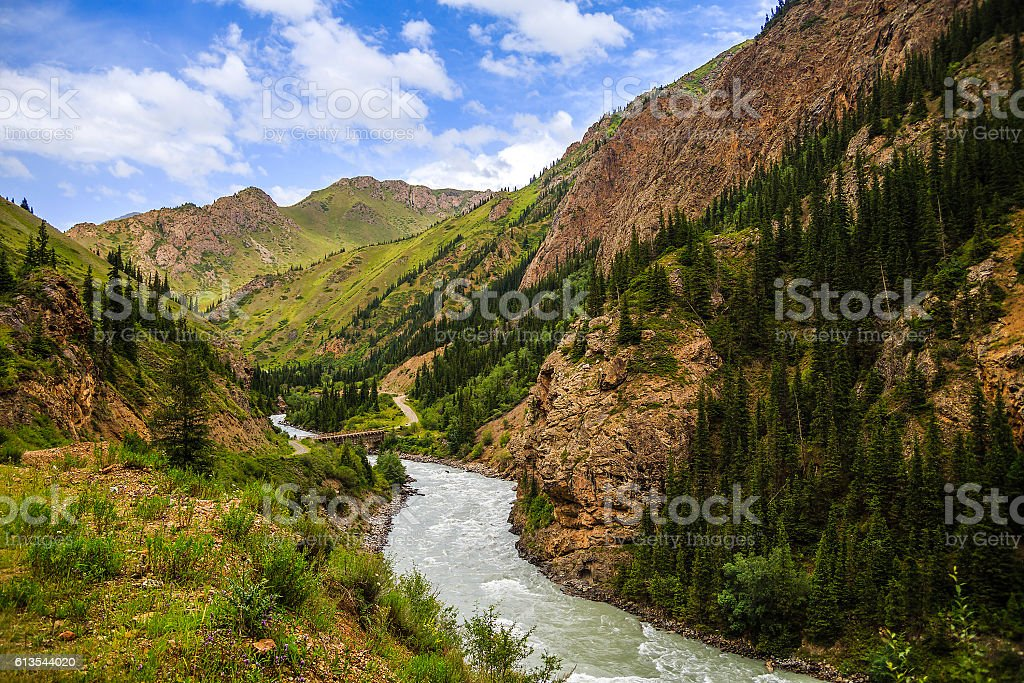 Mountain river at the foot of the mountains stock photo