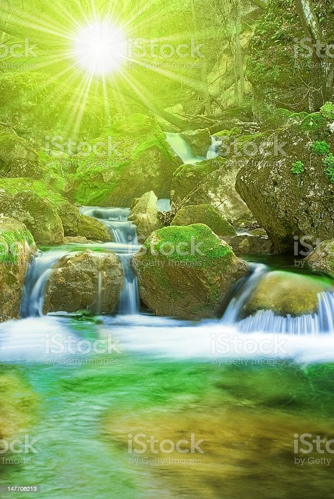 mountain river by the morning royalty-free stock photo