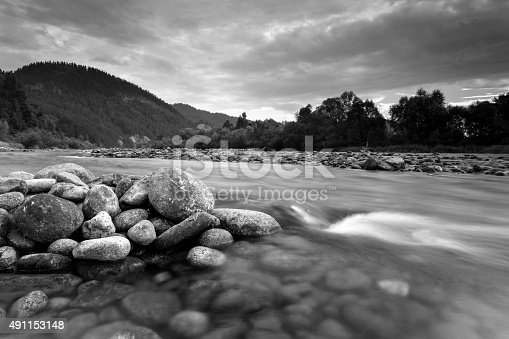 istock Mountain river Dunajec waterfall landscape black and white 491153148
