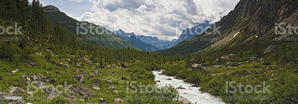 Mountain river forest valley wilderness panorama Alps royalty-free stock photo