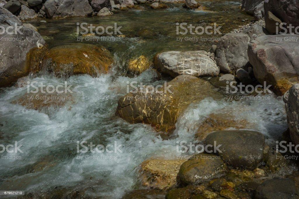 Mountain river gorge near Panta Vrexei in Evritania, Greece royalty-free stock photo
