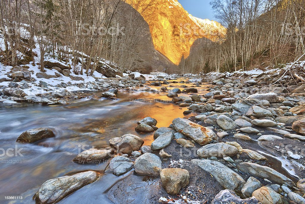 Mountain river in Alps stock photo