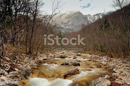 Canyon stream in Paklenica.  The Paklenica karst river canyon is a national park in Croatia, Unesco World Heritage site. It is a hiker's paradise, combining limestone gorges, caves, dense pine forest and meadows.
