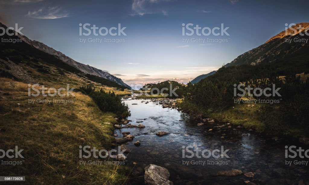 Mountain river in the eveninng stock photo
