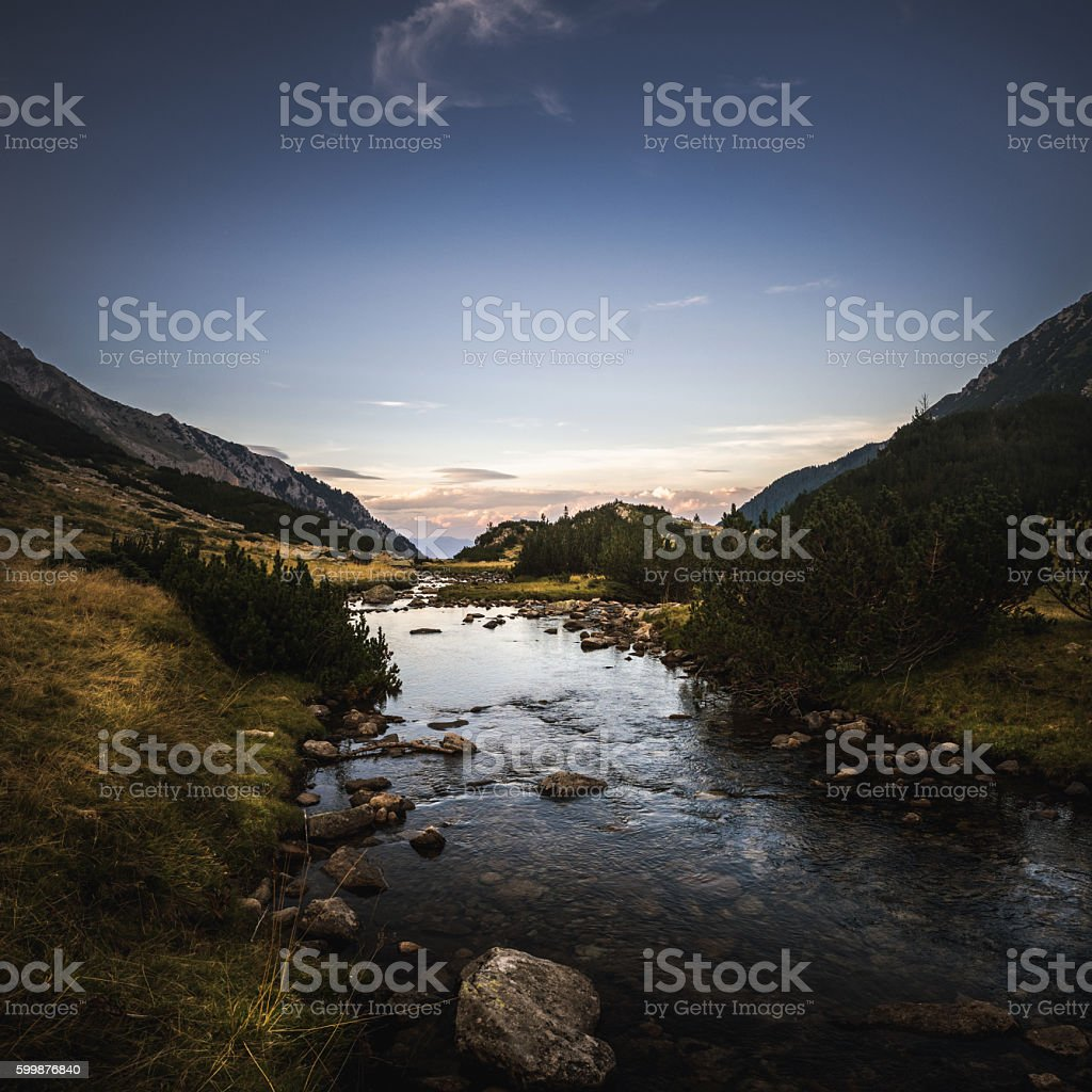 Mountain river in the eveninng – Foto