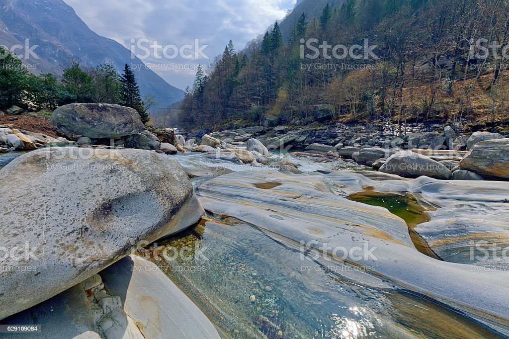 Mountain river in Verzasca valley, Switzerland stock photo