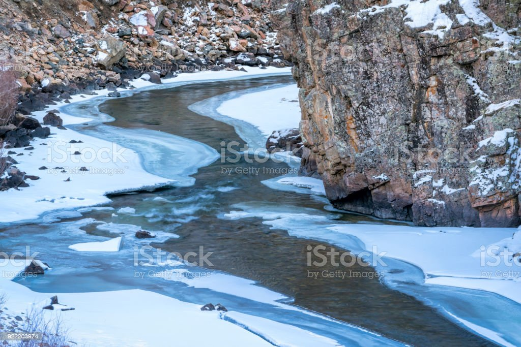 mountain river in winter scenery stock photo