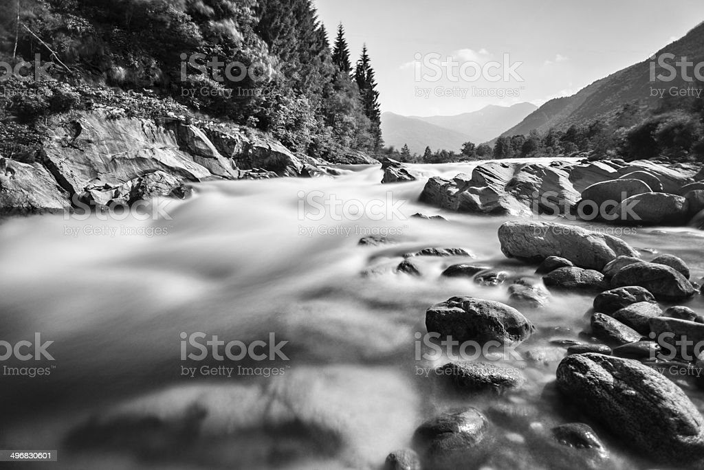Mountain river long exposure black and white landscape stock photo