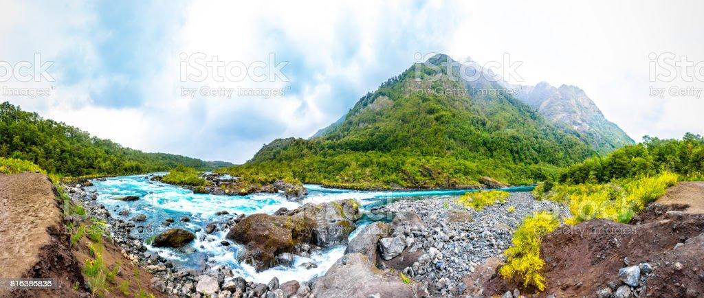 Mountain river near Puerto Varas, Chile stock photo