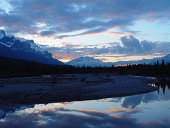 mountain river reflections at sunset