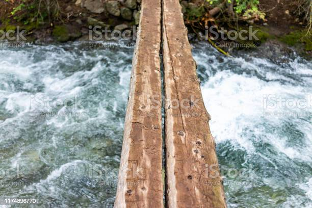 Photo of Mountain river stream looking down in rocky mountains in summer of 2019 on Conundrum Creek trail in Aspen, Colorado with wooden bridge
