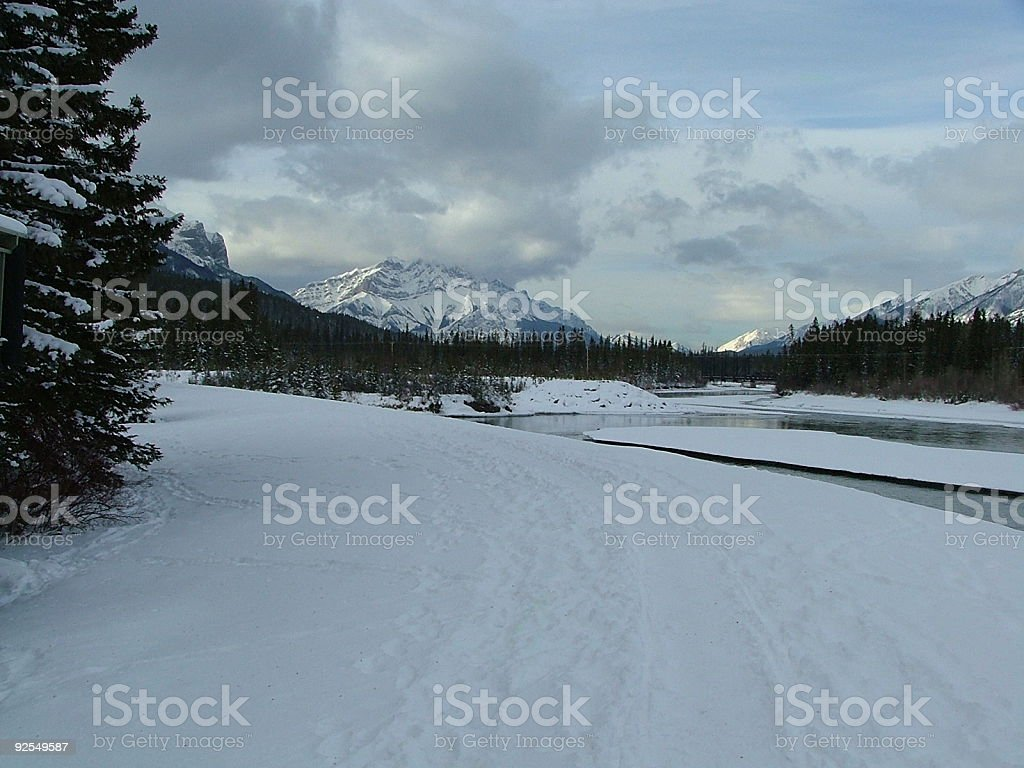 Mountain River Trail in Winter stock photo