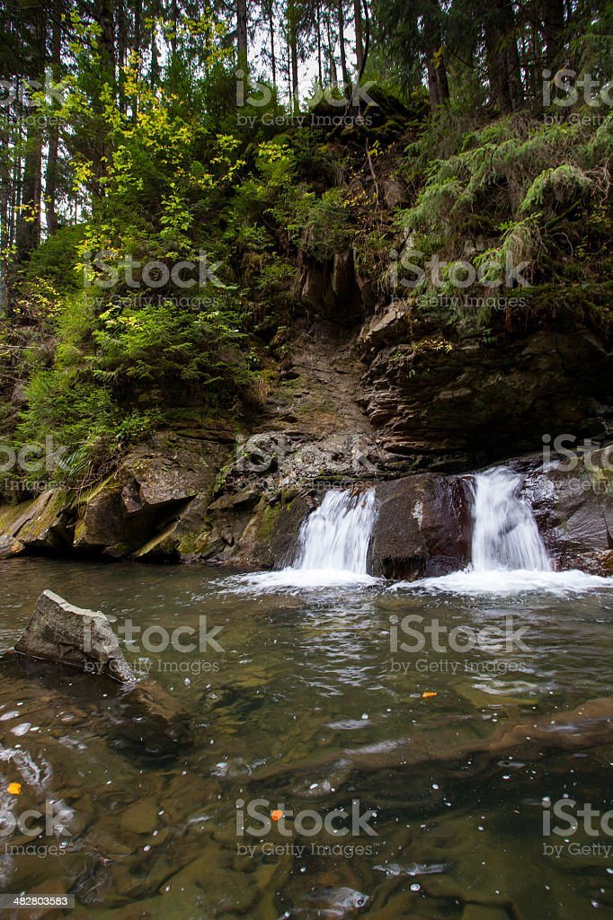 mountain river with stones and sky in Carpathian royalty-free stock photo