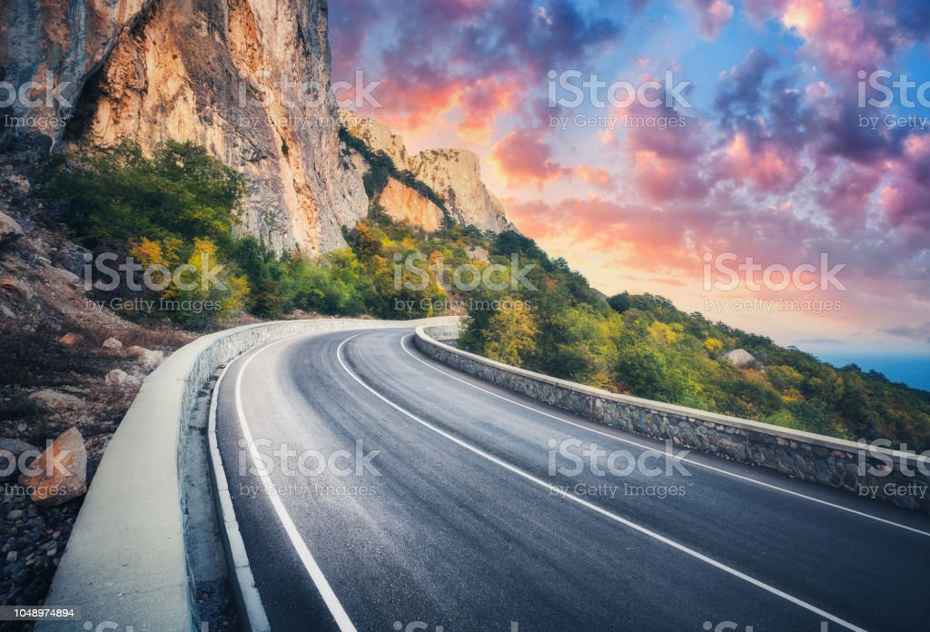 Mountain Road And Beautiful Sky At Sunset Colorful Landscape