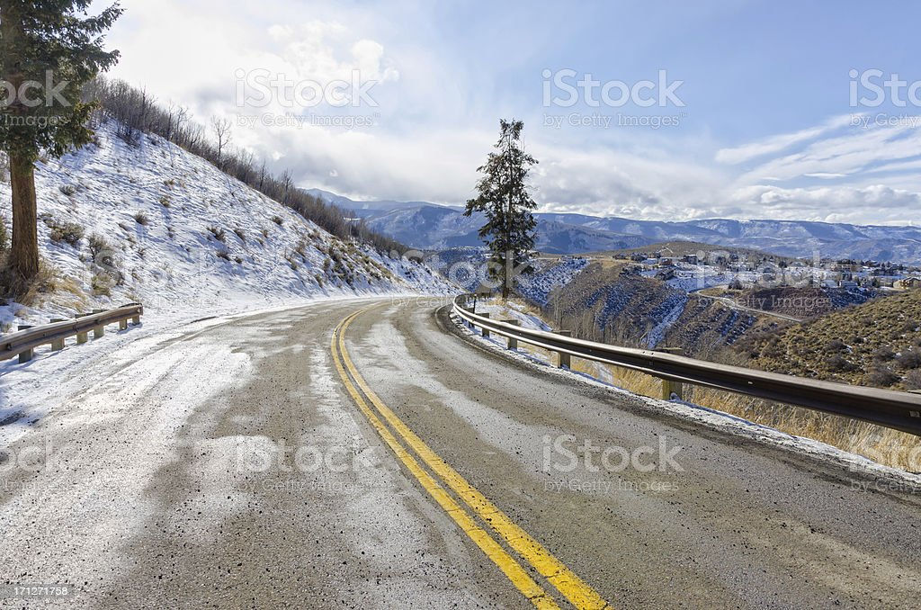 Mountain Road and Community with Scenic Views stock photo