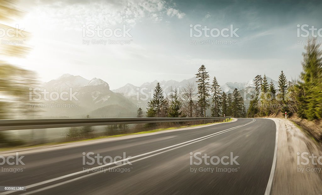 Mountain road at high speed stock photo