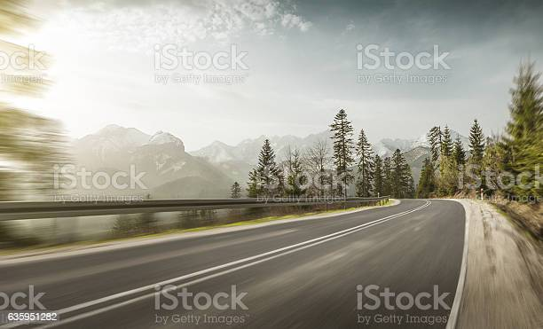Photo of Mountain road at high speed