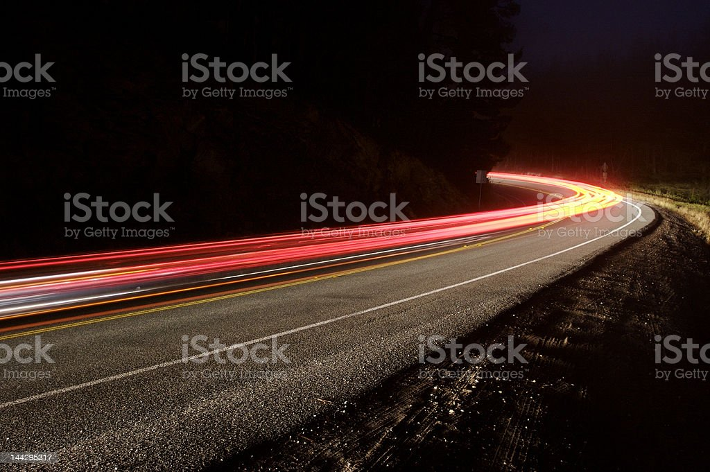 Mountain road at night royalty-free stock photo