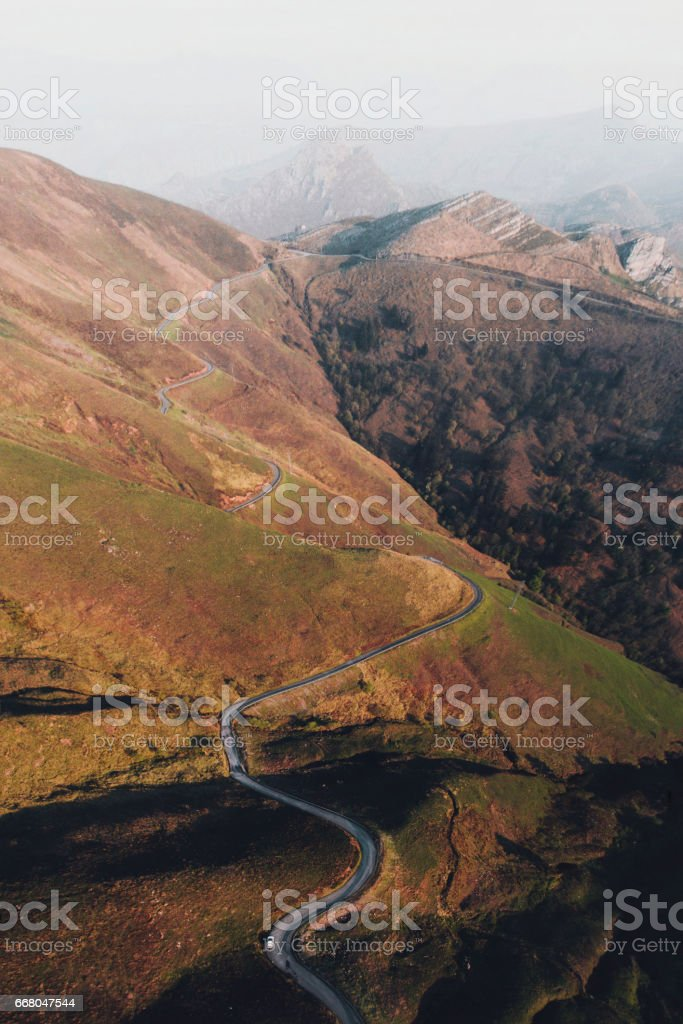 A mountain road with curves as seen from above