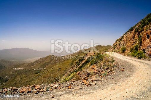 Mountain Road from Termas Villevicencio to Uspallata, Andes, Argentina