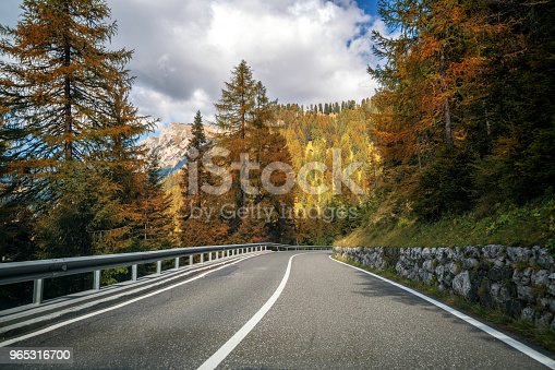 Mountain Road Highway Of Dolomite Mountain Italy Stock Photo & More Pictures of Adventure