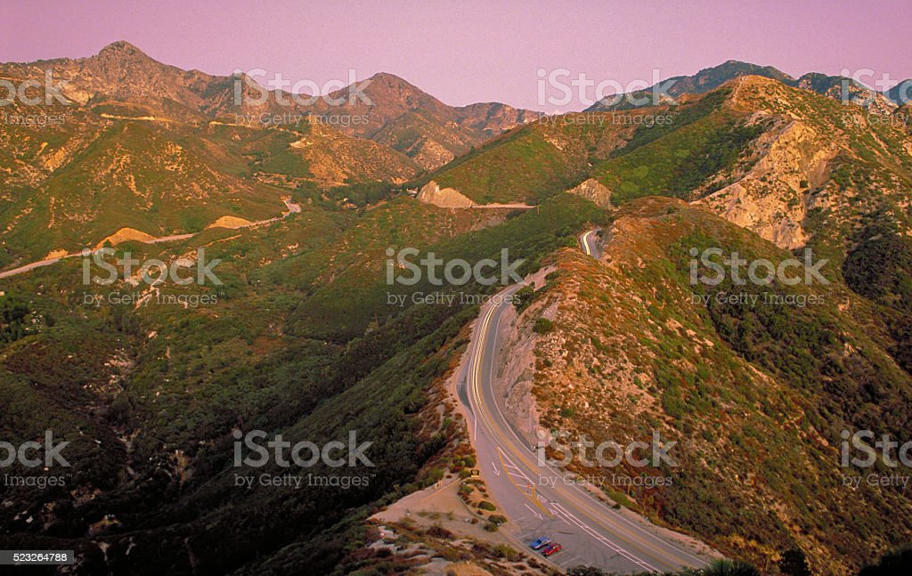 Mountain Road in Afterglow stock photo