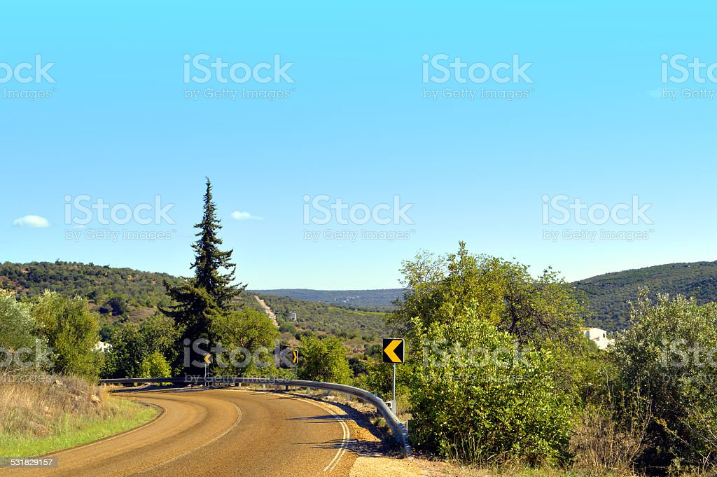 Mountain road in Alte countryside Portugal stock photo