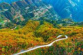 Mountain road in autumn